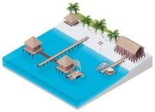 Recurso tropical isométrico do vetor ilustração royalty free