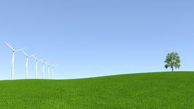Recursos de energia, turbina eólica e ambiente limpo Foto de Stock Royalty Free