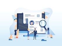 Recursos humanos, conceito do recrutamento para o página da web, apresentação da bandeira, meios sociais, cartões dos originais e ilustração do vetor