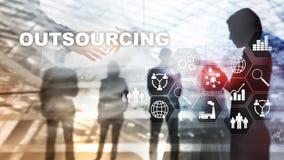 Recursos humanos de externalização Conceito da indústria do negócio global Autônomo externalize a parceria internacional ilustração stock