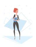 Recursos humanos de la mujer de negocios, longitud de Cartoon Character Full de la empresaria ilustración del vector