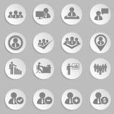 Recursos humanos e ícones da gestão ajustados. imagens de stock royalty free