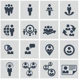 Recursos humanos e iconos de la gestión fijados. Imagenes de archivo
