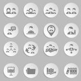 Recursos humanos e iconos de la gestión fijados. Imagen de archivo