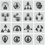 Recursos humanos e iconos de la gestión fijados. Fotografía de archivo