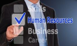 Recursos humanos - gerente com botões do écran sensível fotografia de stock royalty free