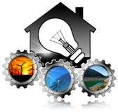 Recursos renováveis - casa com ampola Fotografia de Stock Royalty Free