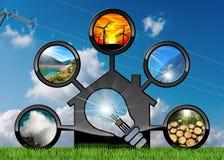 Recursos renováveis e casa com ampola Fotos de Stock Royalty Free