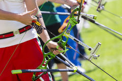 Recurve bow archery competition hand only Royalty Free Stock Photography