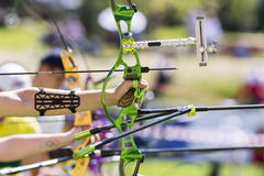 Recurve bow archery competition hand only Royalty Free Stock Image