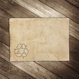 Recyc sign on brown paper  background for texture Stock Images