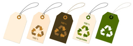 Recycale tags. Illustration of recycable tah with symbol stock illustration