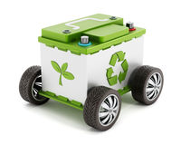 Recyclable car battery with tyres Stock Image