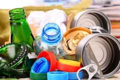 Recyclable garbage consisting of glass, plastic, metal and paper Royalty Free Stock Photography