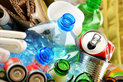 Recyclable garbage consisting of glass, plastic, metal and paper Royalty Free Stock Image