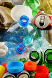 Recyclable garbage consisting of glass, plastic, metal and paper Royalty Free Stock Images