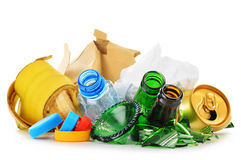 Recyclable garbage consisting of glass plastic metal and paper Royalty Free Stock Photos