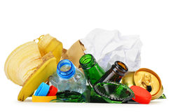 Recyclable garbage consisting of glass plastic metal and paper Royalty Free Stock Photography