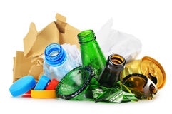 Recyclable garbage consisting of glass plastic metal and paper Royalty Free Stock Images