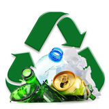 Recyclable garbage consisting of glass plastic metal and paper Royalty Free Stock Photo