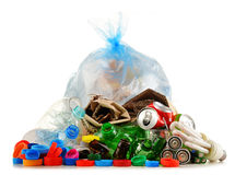 Recyclable garbage consisting of glass, plastic, metal and paper Royalty Free Stock Photo