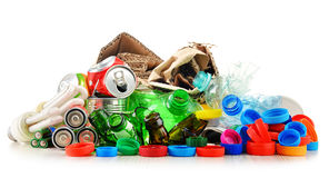 Recyclable garbage consisting of glass, plastic, metal and paper Stock Image