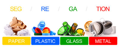 Recyclable garbage consisting of glass, plastic, metal and paper Royalty Free Stock Photos