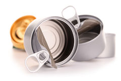 Recyclable garbage consisting of metal cans on white Royalty Free Stock Photos
