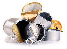 Recyclable garbage consisting of metal cans on white Royalty Free Stock Photo