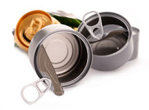 Recyclable garbage consisting of metal cans on white Royalty Free Stock Image
