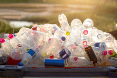 Recyclable garbage of glass and plastic bottles Stock Image