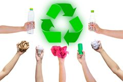 Recyclable hand hold show symbol plastic bottle used paper canned light bulb. A white background Stock Photo