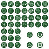 Recyclable material. Icon set each individually layered Stock Illustration