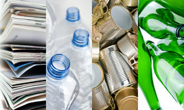 Recyclable materials. Paper metals plastic and glass bottles in four frames Stock Photos