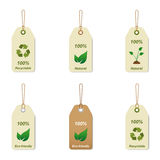 Recyclable and natural tags. Isolated on white background Stock Image