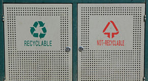 Recyclable and not recyclable bin Royalty Free Stock Image