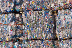Recyclable plastic. Compacted recyclable plastic waste at a recycling plant Stock Photo