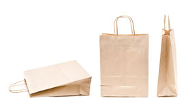Recyclable; reusable paper bag. Recyclable; reusable brown paper shopping carrier bag Stock Image