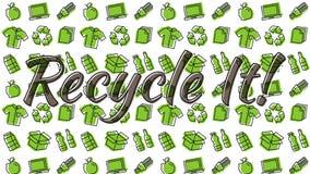 Recyclable rzeczy kreskowej sztuki wzór ilustracja wektor