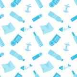 Recyclable rzeczy Przetwarzać pojęcie Wektorowy płaski bezszwowy wzór może używać dla ekologicznego projekta, Save Ziemskiego pla ilustracji