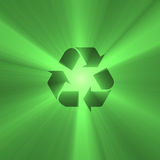 Recyclable sign green light flare Royalty Free Stock Photos
