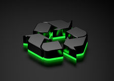 Recyclable sign green light glowing bottom Royalty Free Stock Photo