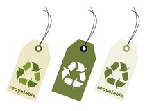 Recyclable sing tag with clipping path Stock Images