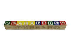 Recyclable on  toy blocks Royalty Free Stock Image