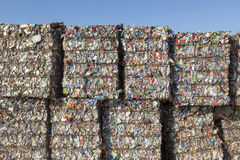 Recyclable Waste. Ready to be recycled at a waste treatment plant Royalty Free Stock Images
