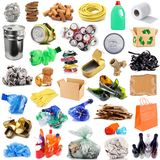 Recyclable waste collage in white background. Recyclable waste collage on white background Royalty Free Stock Photo