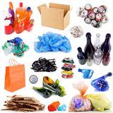 Recyclable waste collage in white background. Recyclable waste collage on white background Stock Image