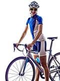 Recyclage de cycliste d'athlète de triathlon de femme photo libre de droits