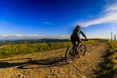 Recyclage faisant du vélo de montagne au coucher du soleil dans le LAN de forêt de montagnes d'été Images libres de droits