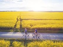 Recyclage, groupe des jeunes avec des bicyclettes photographie stock libre de droits